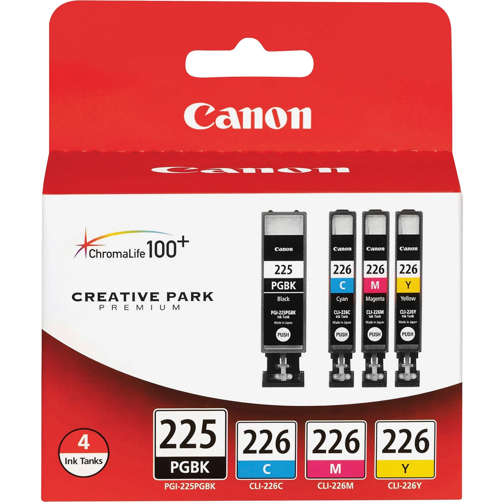 Canon, CNMPGI225CLI226, PGI225/CLI226 4/pack Ink Tank Cartridges, 4 / Pack