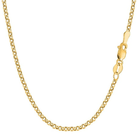 14K Yellow Gold 2.3MM Round Rolo Link Pendant Necklace Chains 16