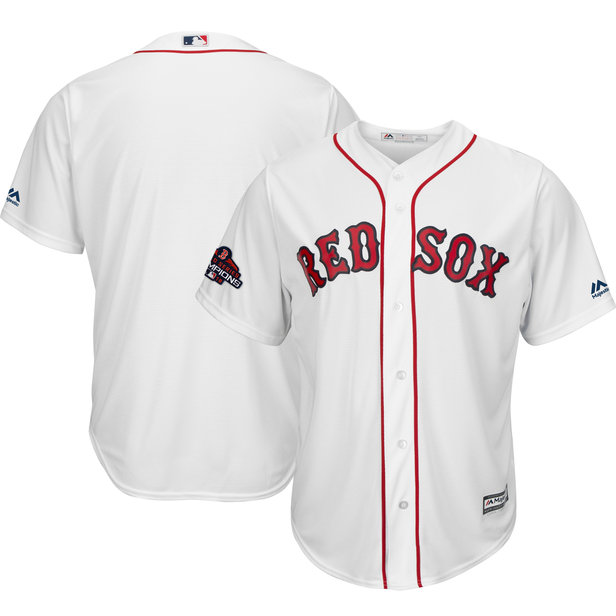 Boston Red Sox Majestic 2018 World Series Champions Team Logo Jersey - White
