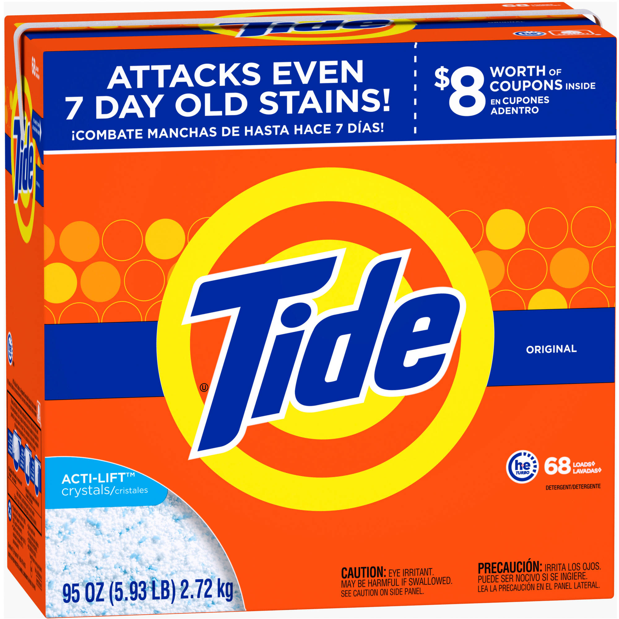 Tide HE Turbo Powder Laundry Detergent, Original Scent, 68 Loads, 95 oz