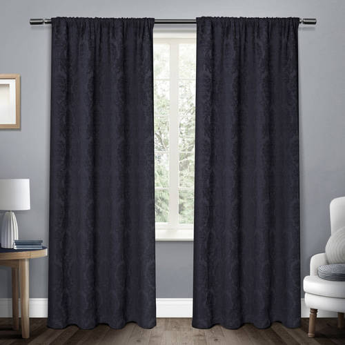 Exclusive Home Damask Chenille Heavyweight Jacquard Medallion Window Curtain Panel Pair with Rod Pocket