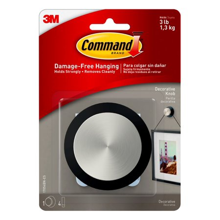 Command Decorative Knob Round, Brushed Nickel/ Slate, Medium, 1 Knob, 4 Strips/Pack