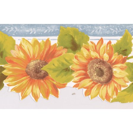 Prepasted Wallpaper Border - Orange Yellow Sunflowers Silver Grey Trim Scalloped Floral Wall Border Retro Design, Roll 15 ft. x 5 in.