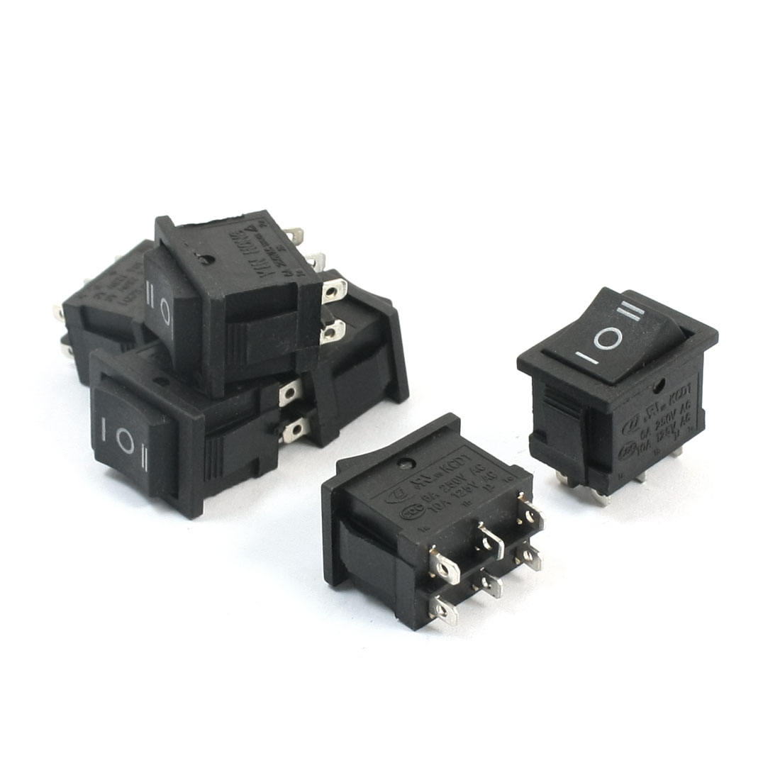 6Pcs Snap in Mount Latching DPDT Rocker Switch AC 250V 6A AC 125V 10A for Car