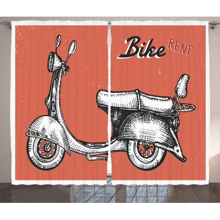 Vintage Decor Curtains 2 Panels Set  Retro Scooter Sign For Bike Bicycle Rent Classic Grunge Illustration Art  Living Room Bedroom Accessories  By Ambesonne