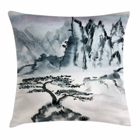 Landscape Throw Pillow Cushion Cover, Chinese Mountain with Lonely Pine Tree Traditional Asian Art Design, Decorative Square Accent Pillow Case, 16 X 16 Inches, Grey and Charcoal Grey, by - Pillow Pine Mountain Designs