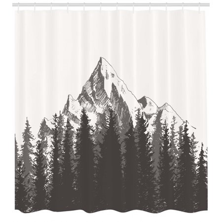 Primitive Shower Curtain Mountain With Fir Forest And Native American Arrow Figure Folk Style Retro