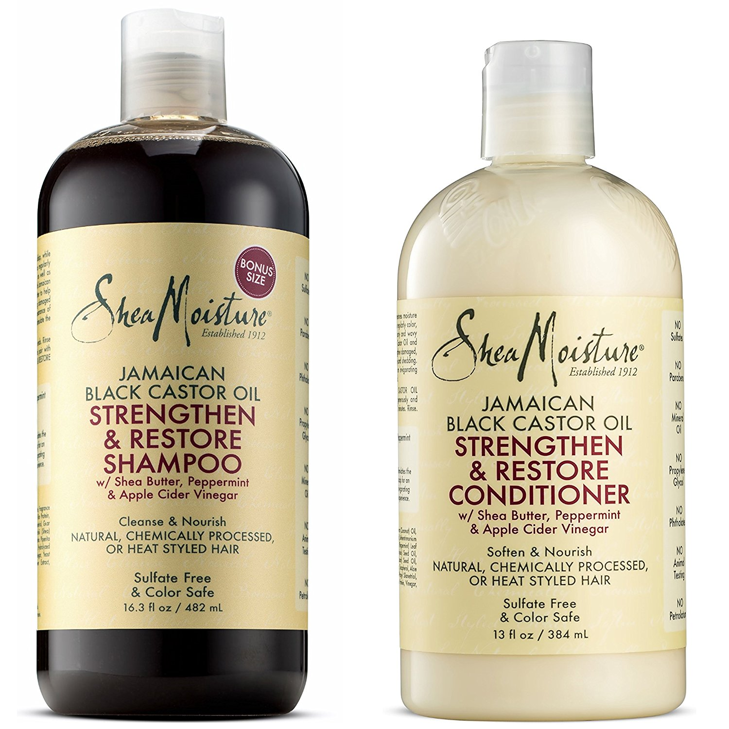 Shea Moisture Shampoo and Conditioner Set – Jamaican Black Castor Oil Combination Pack – Strengthen, Grow & Restore System – 16.3 oz Shampoo & 13 oz. Conditioner