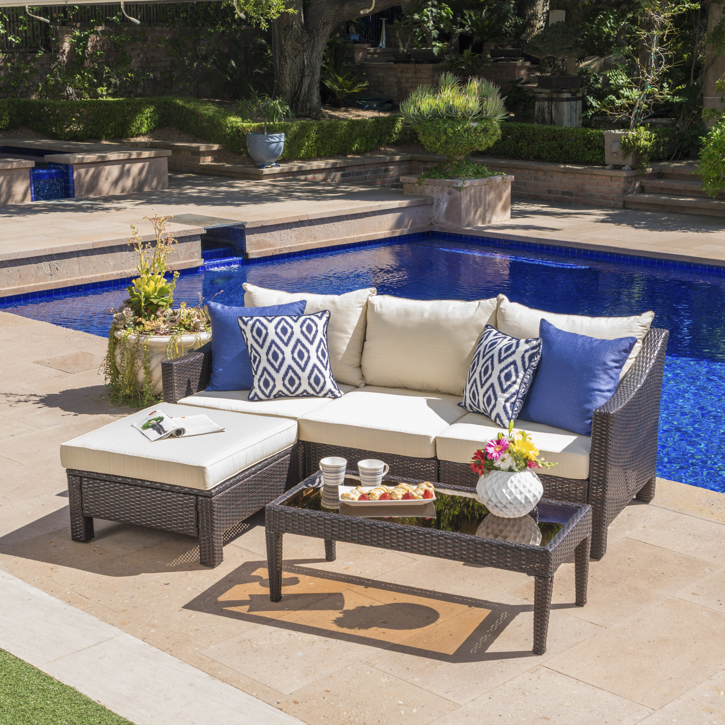 Beau Estelle Outdoor L Shaped Wicker Sectional Sofa Set With Cushions,  Multibrown, Beige