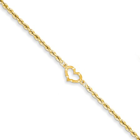 - 14k Yellow Gold Heart Link Rope Anklet Ankle Beach Chain Bracelet Fine Jewelry For Women Gift Set
