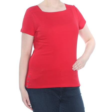 RALPH LAUREN Womens Red Short Sleeve Top Size: XL