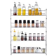 Kadell 4 Tiers Spice Rack Closet Organizer over The Door Pantry Organizer Bathroom Kitchen Cupboard Can Cabinet Home Shelf Storage Wall Mount Hanging Holder