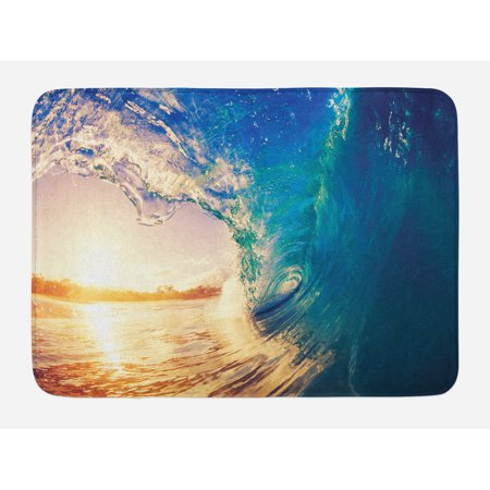 Ocean Bath Mat, Ocean Wave at Sunrise Reflection on Surface Tropical Trees Shoreline Summer Picture, Non-Slip Plush Mat Bathroom Kitchen Laundry Room Decor, 29.5 X 17.5 Inches, Teal Gold, Ambesonne