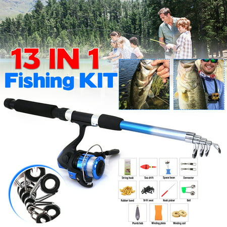 13pcs 1.8m Fishing Rod and Reel Combo with Fishing Line Foldable Telescopic Fishing Rod + High Gear Ratio Spinning Reel String+ Hook Set Combos Fishing Kits
