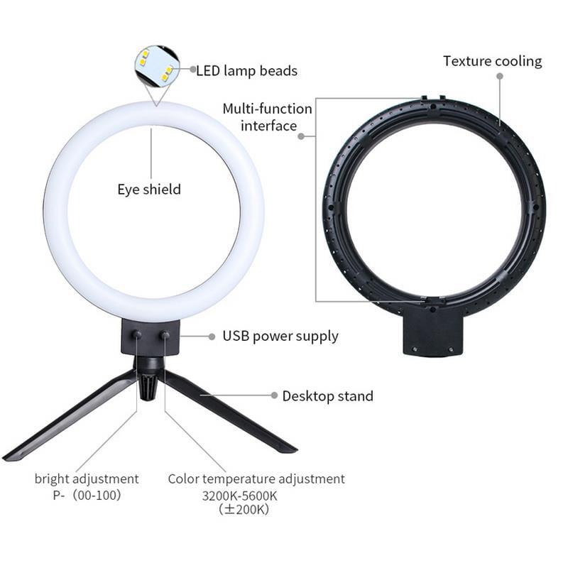 USB Selfie Portable LED Ring Flash Fill Bright Light  For Phone W// Humidifer