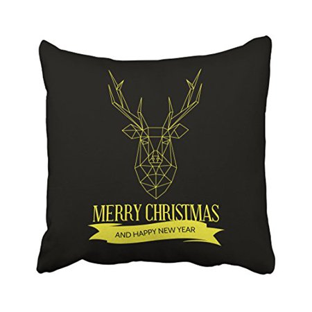 WinHome Yellow Deer Head Line Design Merry Christmas And Happy New Year Decorative Pillow Cover With Hidden Zipper Decor Cushion Two Sides 18x18 inches