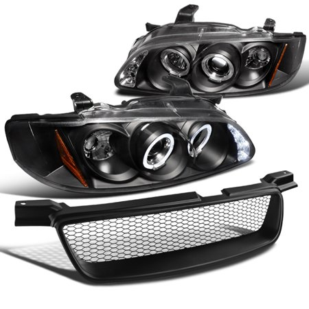 Spec D Tuning 2000 2003 Nissan Sentra Black Led Halo Projector Headlights Mesh Per Hood Grille 2001 2002