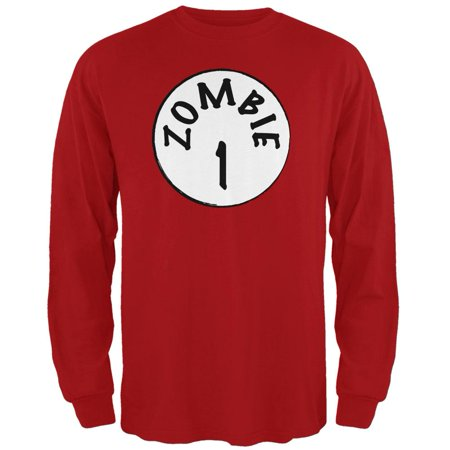 Halloween Zombie 1 One Costume Red Adult Long Sleeve - Zombie Red Halloween Contact Lenses