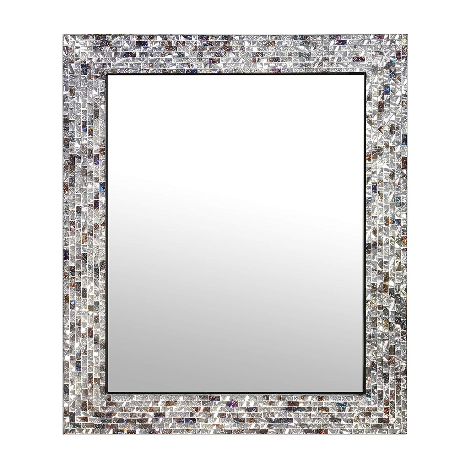 Multi-Colored & Silver, Luxe Mosaic Glass Framed Wall