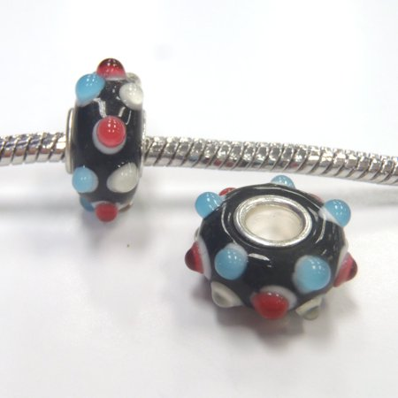 3 Beads - Blue Ivory Red Bumpy Lampwork Glass Brass Core Silver European Bead Charm E1004