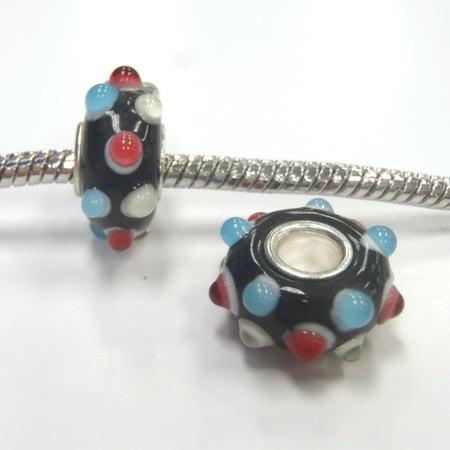 3 Beads - Blue Ivory Red Bumpy Lampwork Glass Brass Core Silver European Bead Charm