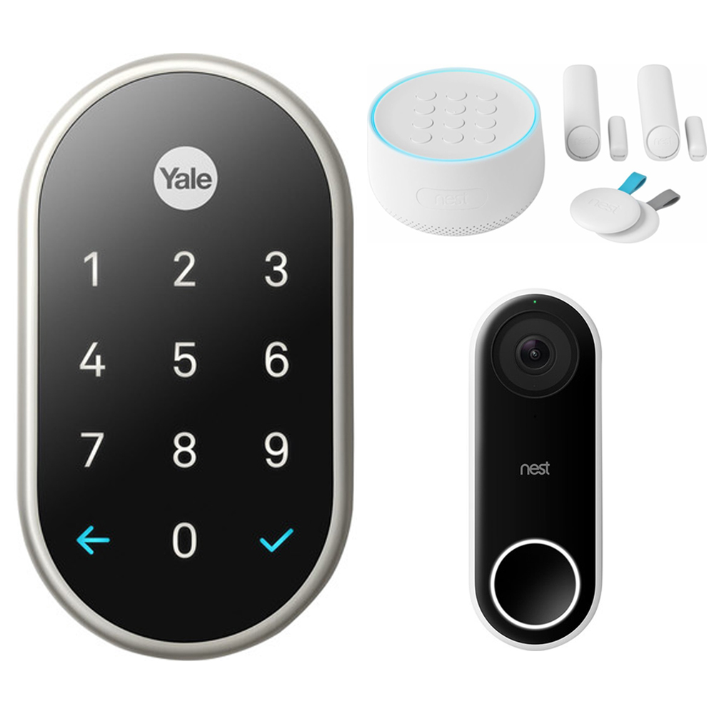Nest (RB-YRD540-WV-619) x Yale Lock with Nest Connect, Satin Nickel + Nest Secure Alarm System Starter Pack + Nest Hello Smart Wi-Fi Video Doorbell