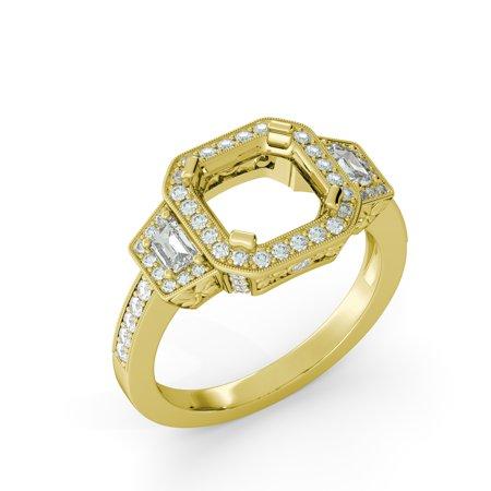 Asscher Halo Vintage Antique Semi Mount Diamond Egagement Ring 14k Yellow Gold