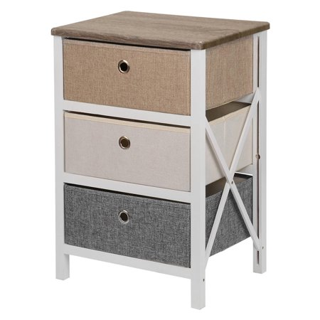 SortWise MDF End Table/Night Stand with Storage Bins, Removeable Storage Drawer Bedroom Organizer - image 1 of 10