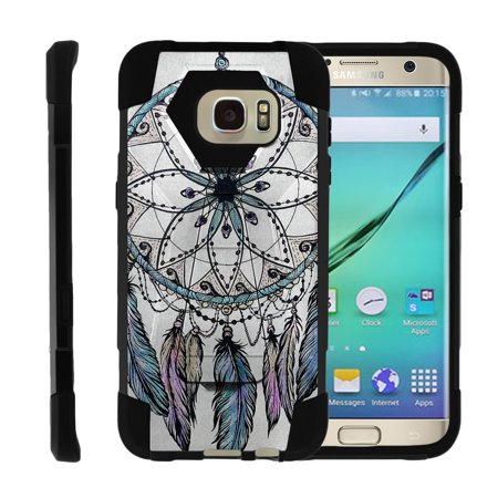 TurtleArmor ® | For Samsung Galaxy S7 Edge G935 [Dynamic Shell] Dual Layer Hybrid Silicone Hard Shell Kickstand Case - Dreamcatcher Feathers