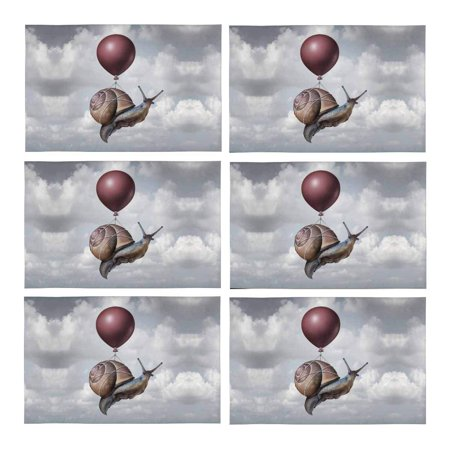 MKHERT Funny Surreal Snail Flying with A Balloon Placemats Table Mats for Dining Room Kitchen Table Decoration 12x18 inch,Set of 6 ()