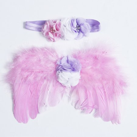 Halloween Headbands For Infants (Baby Infant Newborn Costume Feather Angel Wing+Headband Photography Props)