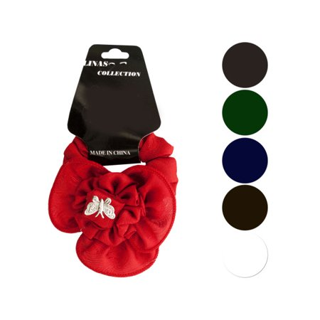 Butterfly Ruffle Flower Bow Accent Hair Twister (Available in a pack of 24)