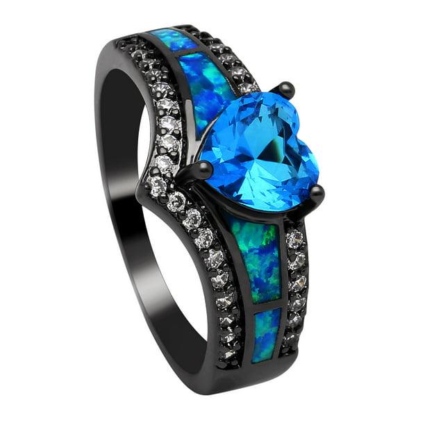 SIZE 5 Details about  /ANTIQUE lab Blue Sapphire//Tanzanite and CZ Bridal Wedding Ring Set