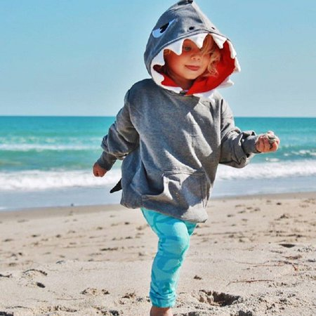 US Toddler Kids Boys Girls Shark Hooded Tops Hoodie Jacket Coat Outerwear Casual - Shrek Girl