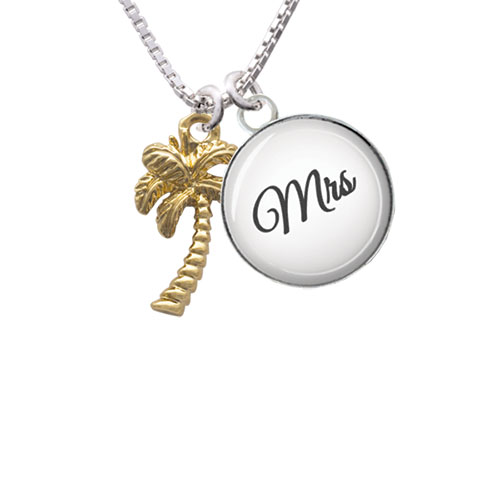 Gold Tone Palm Tree - Mrs Glass Dome Necklace