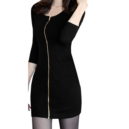 Zip Detail Sheath Dress - Women Scoop Neck Long Sleeves Zip Closure Sheath Dress