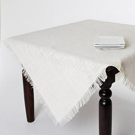 Mari Sati Fringed Burlap Jute Tablecloth, 60