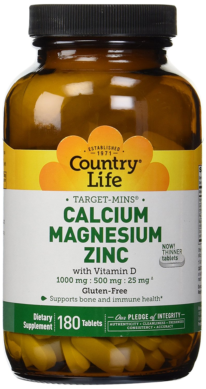 Calcium Magnesium Zinc By Country Life 180 Tablets Walmart Com