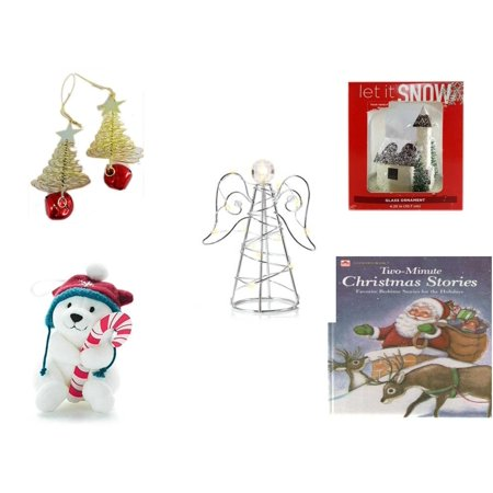 Christmas Fun Gift Bundle [5 Piece] - Set of 2 Gold Tree w/ Star Jingle Bell Ornaments - Let It Snow Glass Ornament Church - RadioShack LED Desktop USB-Powered Wire Angel - Snowby the Polar Bear Orn