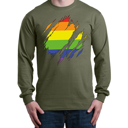 4503b4a3304f62 Mom s Favorite - Ripped Rainbow Flag Long Sleeve Shirt Gay Pride Shirts -  Walmart.com
