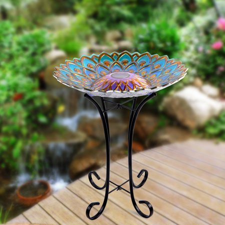 Better Homes and Gardens Solar Birdbath, Blue