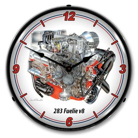 Chevrolet 283 V8 Fuelie LED Wall Clock, Retro/Vintage, Lighted, 14 -