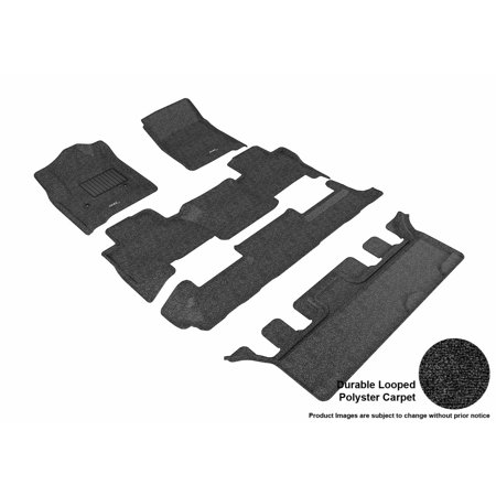 3D MAXpider 2015-2017 Chevrolet Tahoe Bucket Seating Front, Second, & Third Row Set All Weather Floor Liners in Black Carpet ()