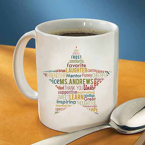 Personalized Teacher Star Text Coffee Mug, 15 oz - Walmart.com