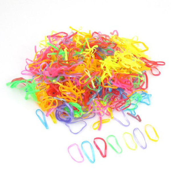 600pcs Mini Oval Multicolor Elastic Ponytail Hair Ties Rubber Bands