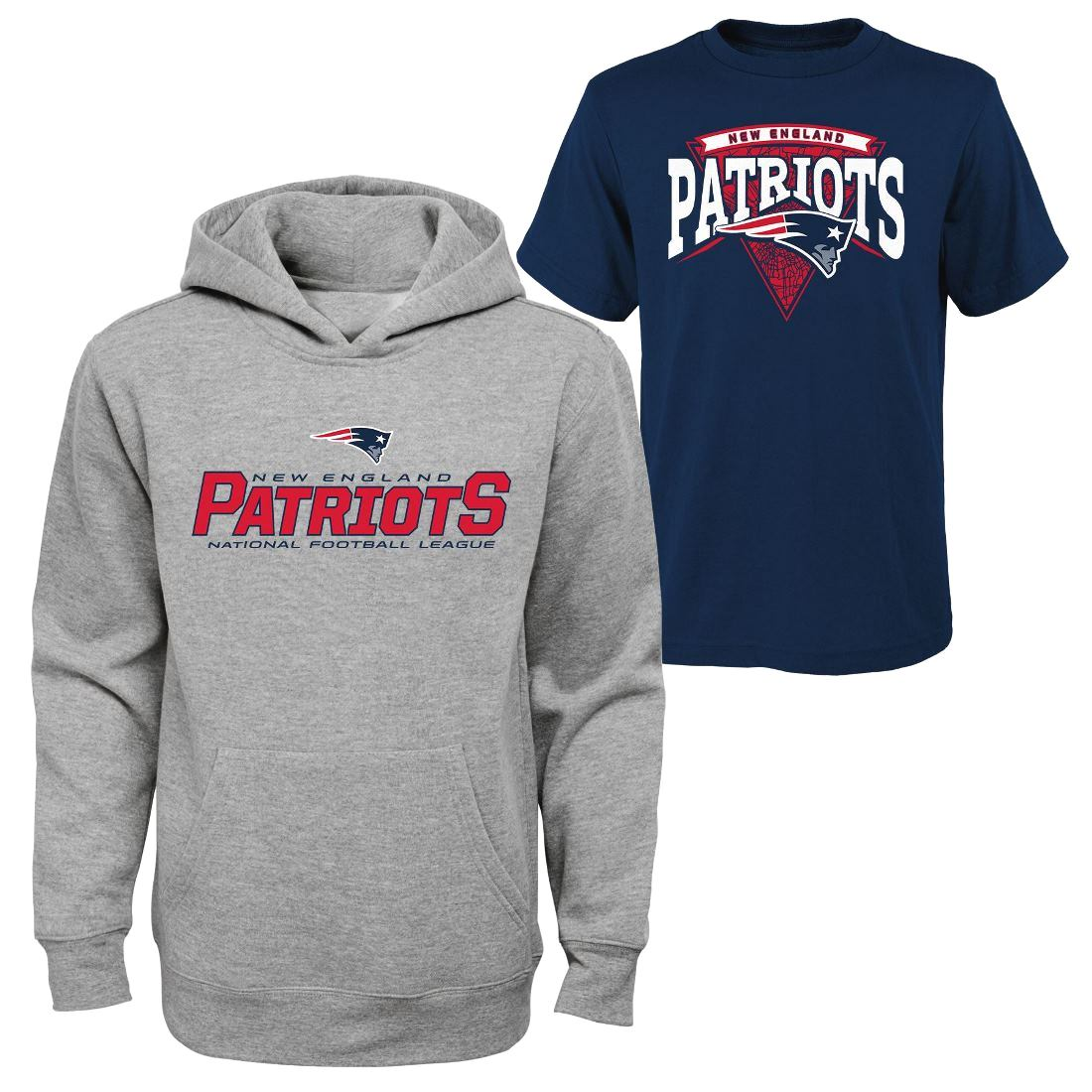 "New England Patriots Youth NFL ""Layered"" T-Shirt & Hooded Sweatshirt Combo Set"
