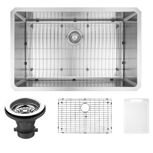 "Vigo 30"" Undermount Stainless Steel Kitchen Sink, Grid and Strainer"