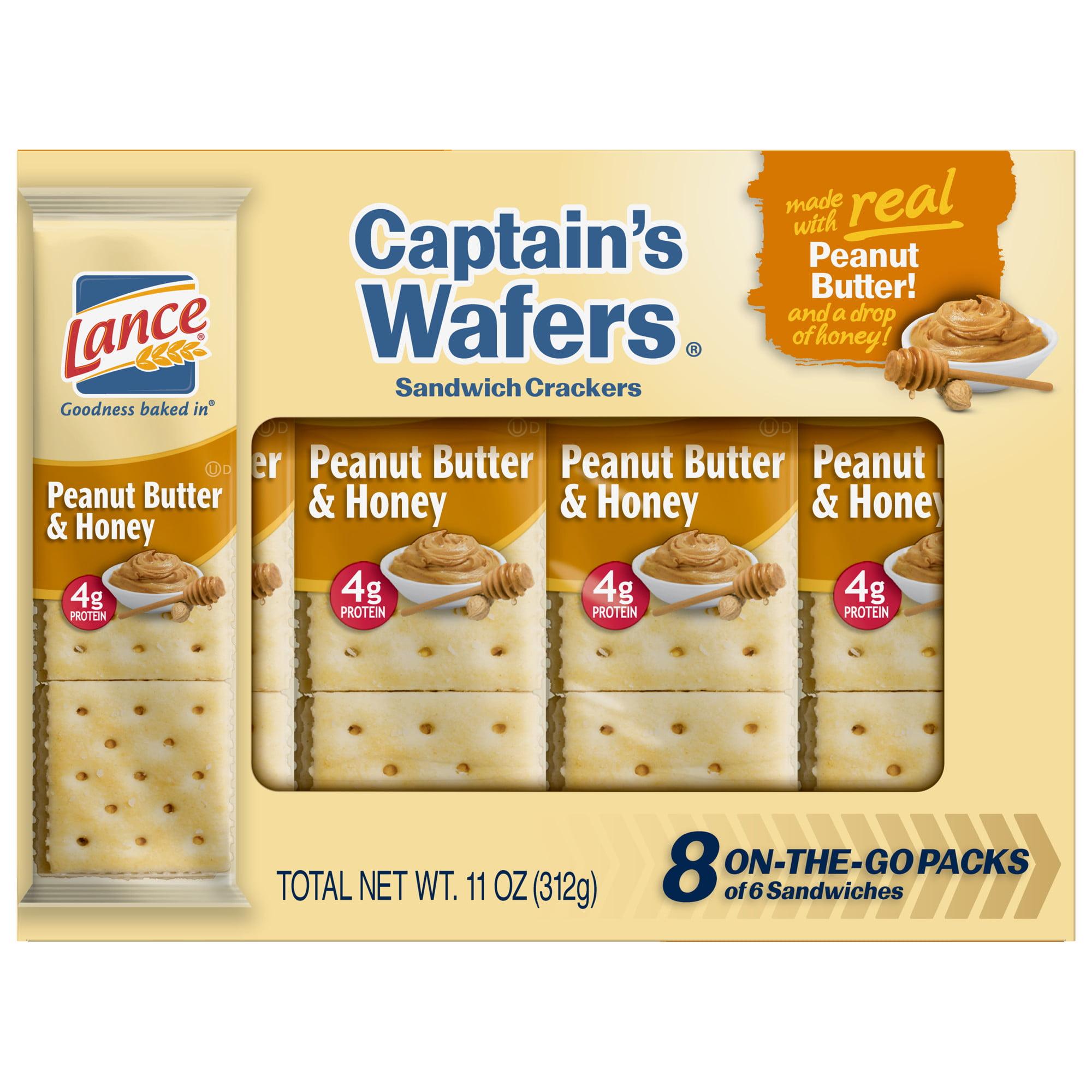 350dafec5a8 Lance Captain's Wafers Peanut Butter & Honey Sandwich Crackers, 8 Ct -  Walmart.com