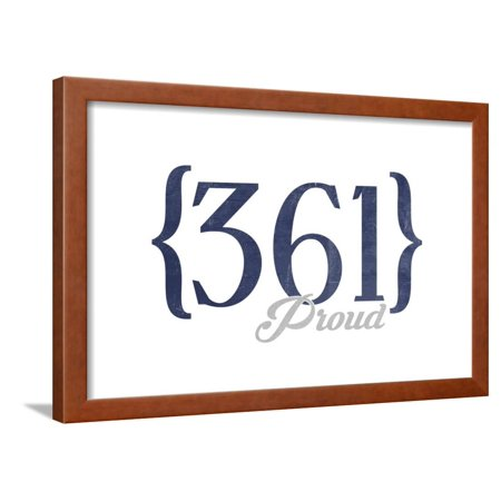 Corpus Christi, Texas - 361 Area Code (Blue) Framed Print Wall Art By Lantern Press (361 Wall)