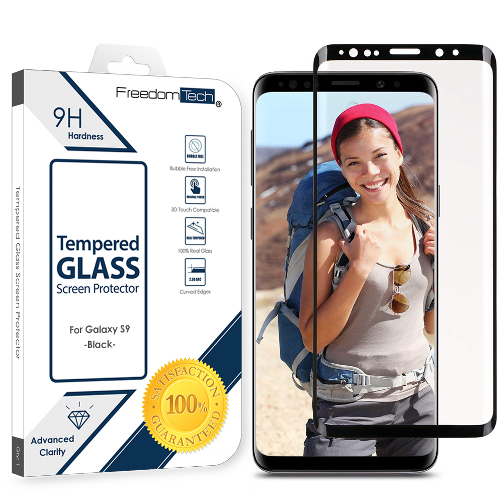 Samsung Galaxy S9 Screen Protector Glass Film Full Cover 3D Curved Case Friendly Screen Protector Tempered Glass for Samsung Galaxy S9 Black